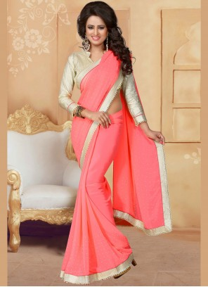 Patch Border Work Faux Georgette Classic Saree