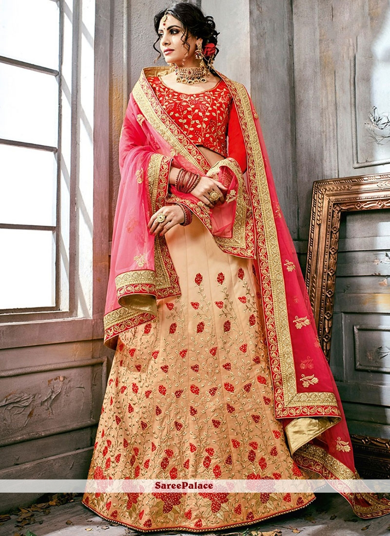 6d4d3c3f95 Buy Patch Border Work Peach and Red Lehenga Choli Online