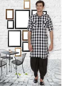Patchwork Cotton Kurta Pyjama in White
