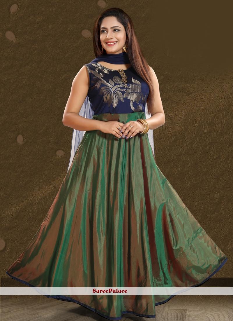 Patchwork Green Art Silk Salwar Kameez