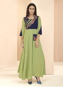 Patchwork Green Designer Kurti