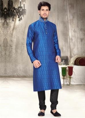 Patchwork Work Brocade Blue Kurta Pyjama