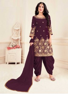 Wine Silk Patiala Suit For Party