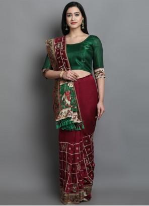 Patola Print Green Designer Traditional Saree