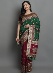 Patola Print Green and Magenta Designer Traditional Saree