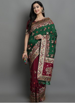 Patola Print Green and Magenta Designer Traditional Saree