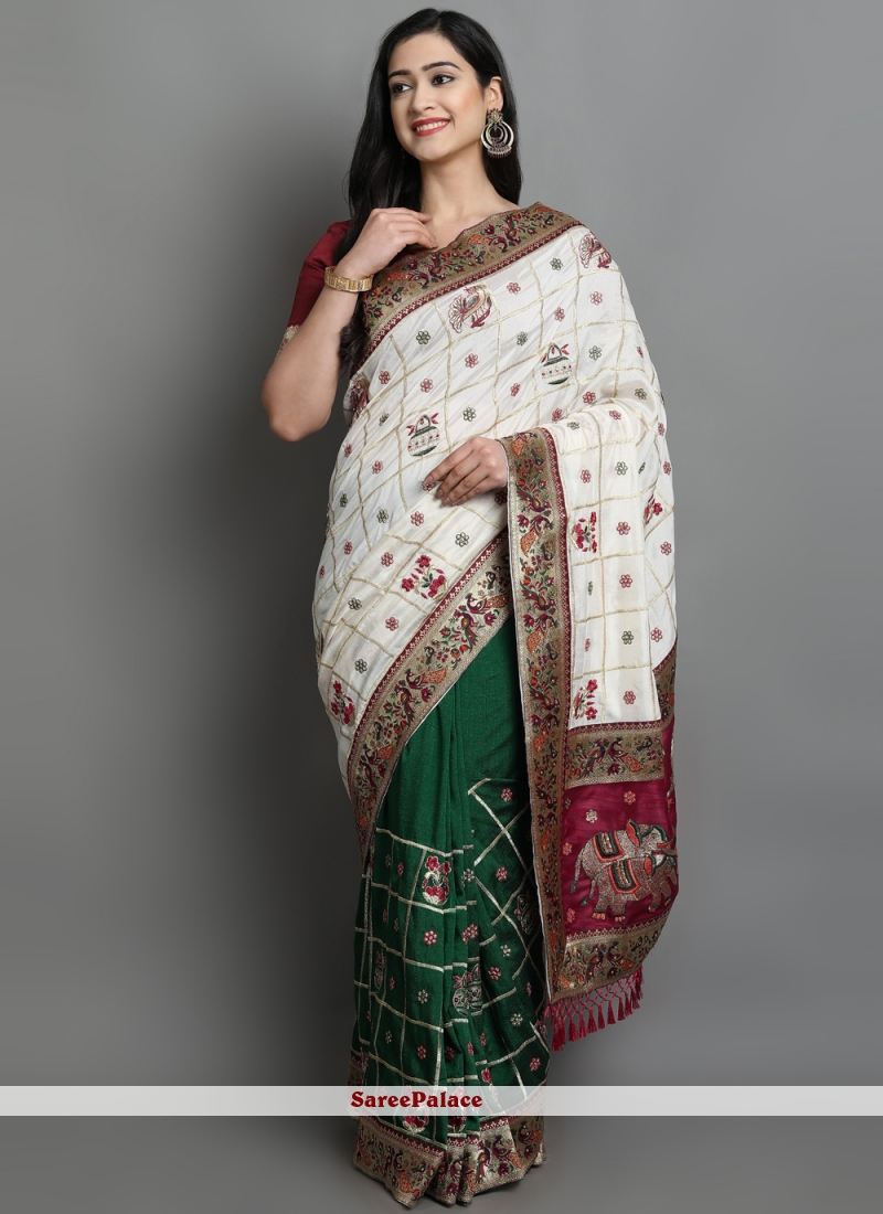 Patola Print Silk Designer Traditional Saree in Green and Off White