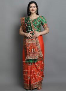 Patola Print Silk Designer Traditional Saree in Green and Orange