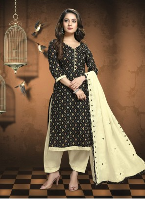 Patola Silk  Embroidered Black Trendy Suit