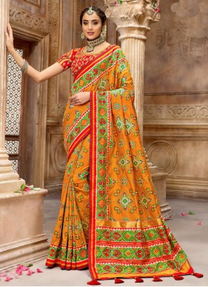 Patola Silk  Orange and Red Resham Designer Traditional Saree