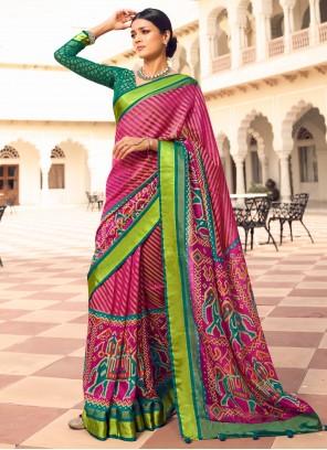 Patola Silk  Pink Designer Traditional Saree