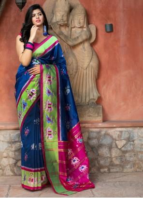 Patola Silk  Weaving Bollywood Saree in Blue