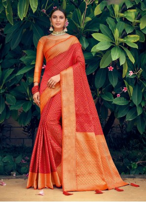 Patola Silk  Woven Orange and Red Traditional Saree