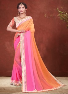 Peach and Pink Embroidered Faux Georgette Shaded Saree