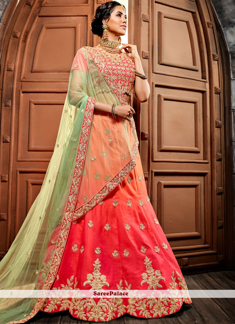 11eb4122503 Buy Peach and Pink Embroidered Lehenga Choli Online