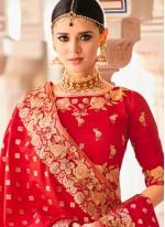 Peach and Red Art Silk Lehenga Choli