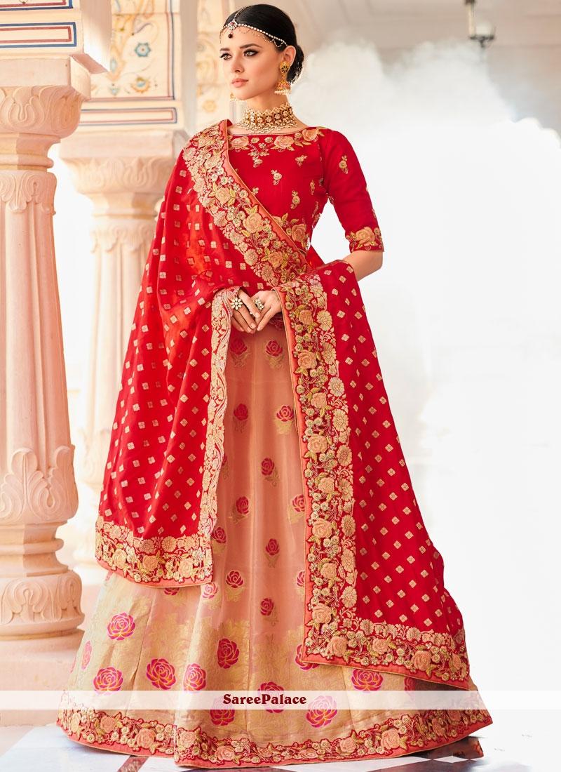 bfb5b27f5cf Buy Peach and Red Art Silk Lehenga Choli Online