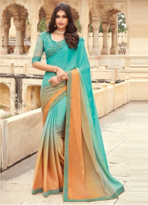 Peach and Sea Green Embroidered Shaded Saree