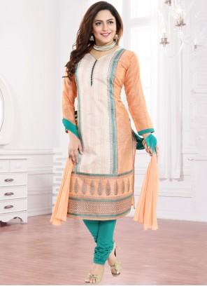 Peach Art Silk Churidar Designer Suit