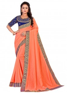 Peach Art Silk Designer Traditional Saree
