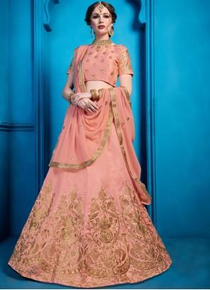 Peach Art Silk Embroidered Designer Lehenga Choli