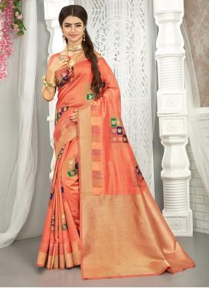 Peach Art Silk Engagement Traditional Saree