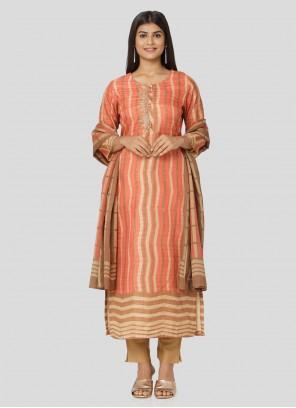 Peach Art Silk Print Salwar Suit