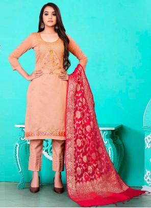 Peach Banarasi Jacquard Pant Style Suit