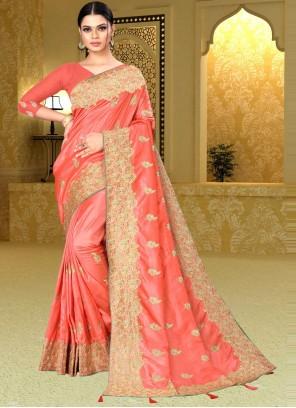 Peach Banarasi Silk Designer Saree