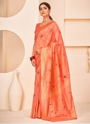 Peach Banarasi Silk Festival Designer Traditional Saree