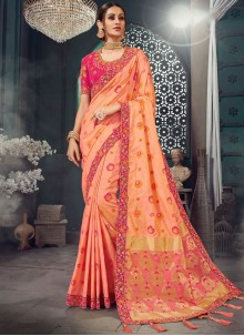 Peach Bhagalpuri Silk Mehndi Classic Saree