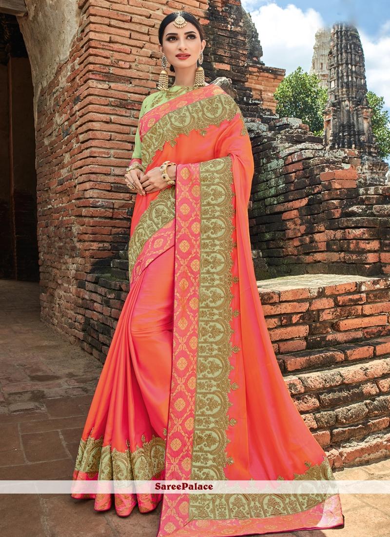 Peach Bridal Designer Traditional Saree