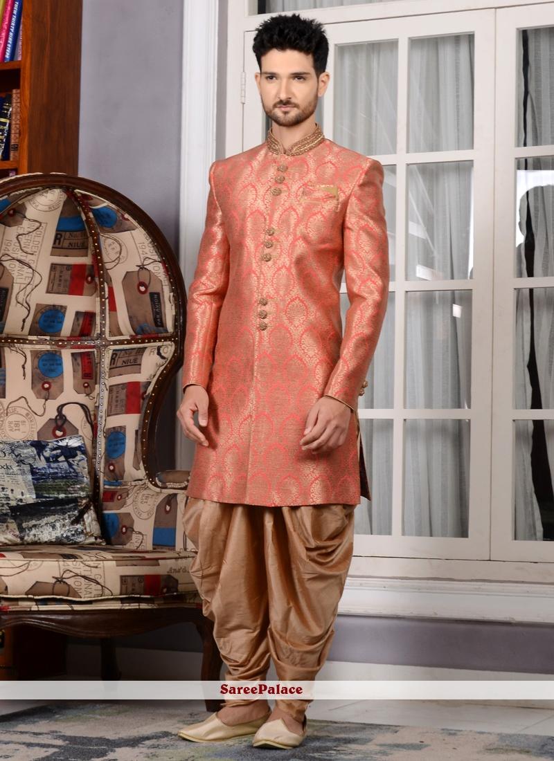 31b66827e1cf Buy Peach Brocade Embroidered Work Indo Western Sherwani Online