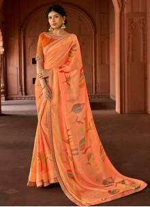 Peach Ceremonial Silk Printed Saree