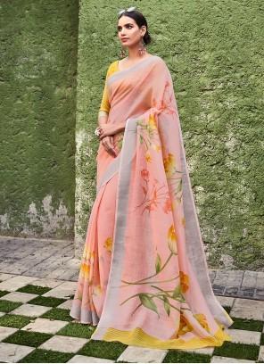 Peach Ceremonial Cotton  Silk Saree
