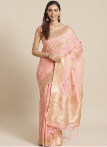 Peach Ceremonial Silk Traditional Designer Saree