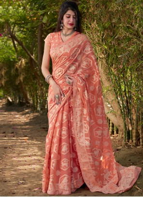 Peach Ceremonial Traditional Designer Saree