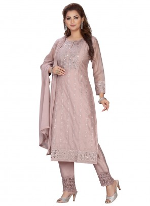 Peach Chanderi Ceremonial Readymade Suit