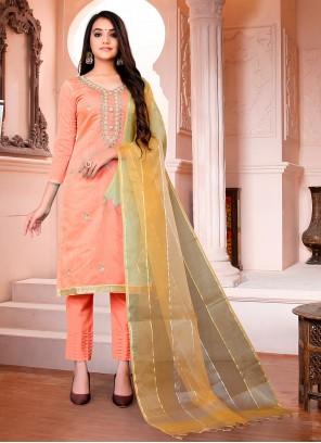 Peach Chanderi Pant Style Suit