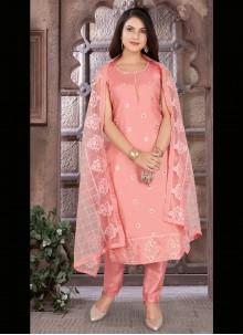 Peach Chanderi Readymade Suit