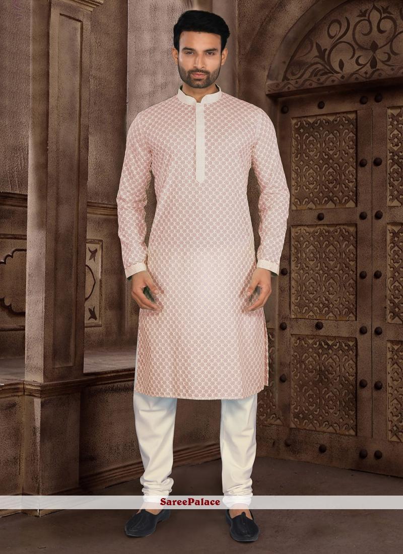 Peach Chikankari Work Cotton Kurta Pyjama