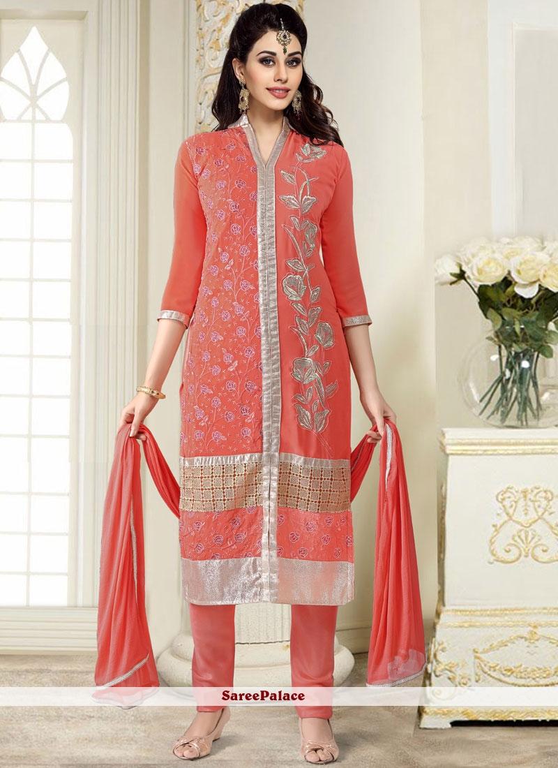 Peach Churidar Designer Suit