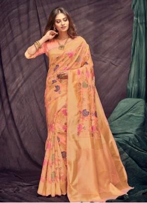 Peach Color Casual Saree