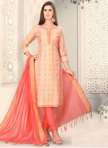 Peach Color Churidar Designer Suit