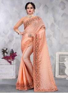 Peach Color Designer Saree
