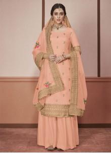 Peach Color Designer Straight Salwar Kameez