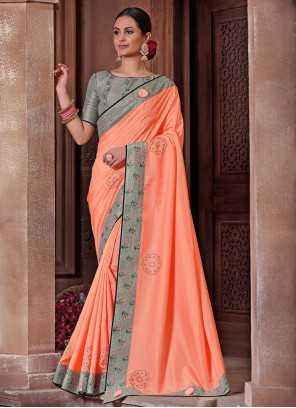 Peach Color Embroidered  Poly Silk Saree