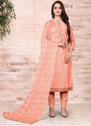 Peach Color Embroidered Pant Style Suit