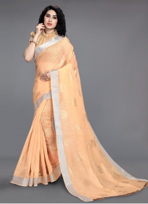 Peach Color Printed Saree