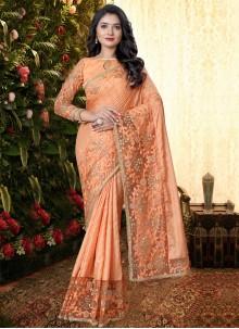 Peach Color Trendy Saree